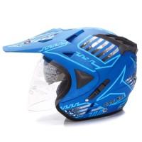 Helm Helem Helmet WTO Pro Sight Cross Double Visor BlueSea Doff