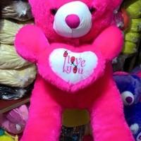 BONEKA JUMBO TEDDY BEAR JUMBO I LOVE U PINK FANTA