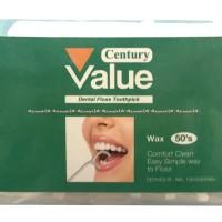 Century Value Dental Floss Toothpick Tusuk Gigi Dan Benang Gigi Isi 50