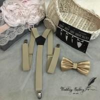 Jual paket hemat!! suspender bretel khaki/coklat muda dan bowtie dasi kupu Murah