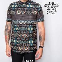 Jual 5384 Short Black Batik Songket / Kemeja Lengan Pendek Jaket Batik Murah