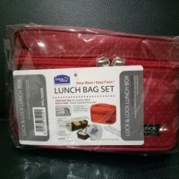 Lock and Lock Lunch Box 2P set bag and spoon, fork (merah)