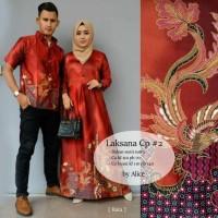 Baju Batik Modern Kebaya Couple Muslim Dress + kemeja Pria laksana cp