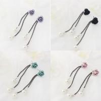 Jual Aksesoris Anting Long Tassel Rose Double Pearl 4 Warna Import Korea pj Murah