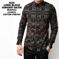 Jual baju kemeja pria   kemeja batik songket lengen panjang black Murah