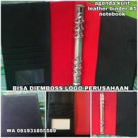 Jual merchandise agenda kulit / leather binder A5 emboss logo perusahaan Murah