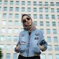 Jaket Bomber Wanita Jeans Patch Bordir Style Hijabers Keren Kekinian