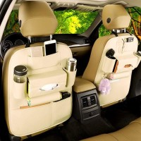Jual Leather Premium Auto Car Organizer Tas Jok Mobil interior warna cream Murah