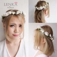 Jual Flower Crown Putih Pesta Pengantin l Mahkota Bunga Lenka - FCP 001 Murah
