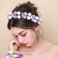 Jual Flower Crown Pesta Wedding l Mahkota Bunga Wanita Lenka - FCW006 Murah