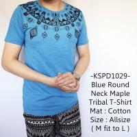 Jual Baju Pria Lengan Pendek Baru Blue Round Maple Tribal T-Shirt - 1029 Murah