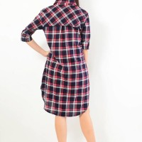 Kemeja Tunik Kemeja Panjang Fashion Atasan Pakaian Baju Wanita Kotak