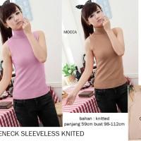 Baju wanita Turtleneck Sleeveless Knitted / Tank Top / Tanpa lengan