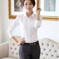 Baju wanita Baju Kemeja cewek putih polos panjang wanita KM18
