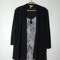 Branded Big Size Blouse Cardigan White Stag Black Navy Green Muslim