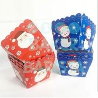 Xmas Square Case Red / Blue /Cupcake Case Christmas Square (50pcs/pak)