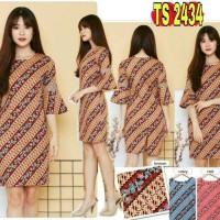 Jual TS2434/ Dress Batik Wanita Katun Stretch Bell Sleeve Lurik Modern Murah