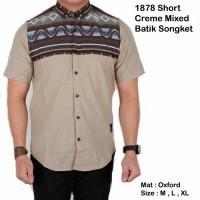 Jual 1878 Short Creme Mixed Batik Songket / Kemeja Jaket Celana Murah