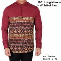 Jual 1881 Long Maroon Half Tribal Blue / Kemeja Jaket Celana Murah