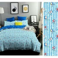 Bed cover set katun lokal halus Doraemon lines size160x200/180x200