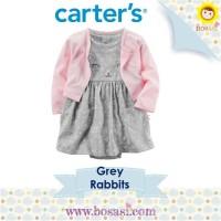 Set Dress Romper Cardigan Anak - Carter Motif Grey Rabbit