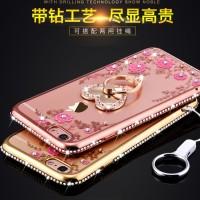 Casing Cover Samsung S8 dan S8 Plus Flower Diamon Plating I-Ring.
