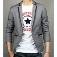 Jual Blazer Ggs Grey Line Black Premium, Jas Blazer Aliyando Abu Murah