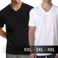 Jual Baju Kaos Polos V-Neck Kaos Oblong Distro Jumbo Big Size XXL 3XL 4XL Murah