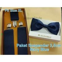 Paket Suspender/Bretel/Tali Jojon 3,5 cm + Dasi Kupu Aldama Dewasa XL