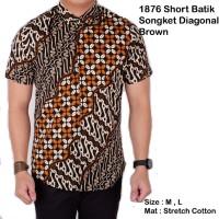 Jual Kemeja Pria Batik Songket Diagonal Lengan Pendek Coklat Murah
