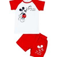 Baju Setelan Mickey Mouse Baju Bayi Pakaian Sehari hari bahan Kaos