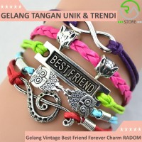 Jual Gelang Vintage Best Friend Forever Charm Leather Bracelet Bangle Women Murah