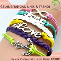 Jual Gelang Vintage Faith Loves Charm Leather Bracelet Bangle Women - Q1 Murah