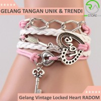 Jual Gelang Vintage Locked Heart Charm Leather Bracelet Bangle Women - Q2 Murah