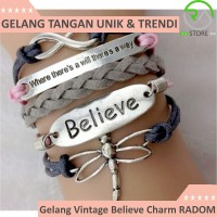 Jual Gelang Vintage Believe Charm Leather Bracelet Bangle Women - Q3 Murah