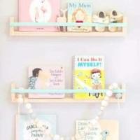 Rak Buku Gantung Dinding Style Korea Full Kayu Solid Minimalis Murah