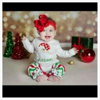 Jual baju natal santa girl baby bayi balita toddler jumper legging jumpsuit Murah