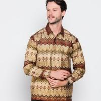 Jual Kemeja Batik Pria Modern Slim Fit Awana Songket Emas Murah