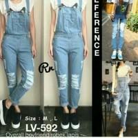 Celana kodok wanita - Overall ripped jeans - baju kodok