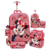 Jual Tas Trolley 6 Roda Minnie Mouse 3D 4IN1 Troli Import Anak Sekolah SD Murah