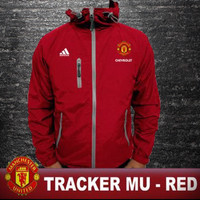 Jaket Tracker Bola MU red water proof # non celana pendek