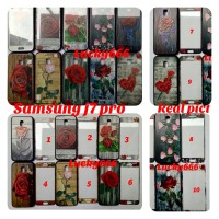 Soft case plus tempered glass samsung galaxy j7 pro j770 flower j7pro