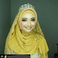 jilbab pengantin hijab pesta pashmina gliter elastic