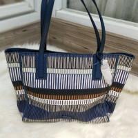 TAS FOSSIL Wanita Emma Tote Blue Stripe ORIGINAL FOSSIL BAG NWT