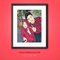 Ubah Foto Jadi Kartun Vector Untuk Hadiah/pajangan/souvenir (Couple)