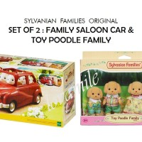 SYLVANIAN FAMILIES - SET OF 2 : SALOON CAR & TOY POODLE FAMILY