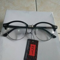 Jual kacamata fashion kacamata bulat oval list hitam gaya korea trendy Murah