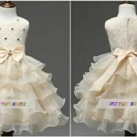 party dress ivory / baju pesta anak cewek ruffle gaun