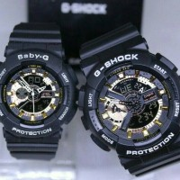JAM TANGAN COUPLE G-SHOCK GA110 BABY-G BLACK GOLD ANTI AIR.