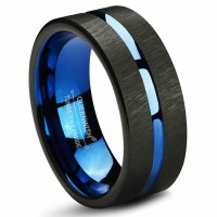 Tungsten Ring Men's Wedding Band Two Tone 8MM Brushed Center Beveled